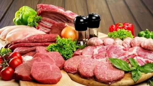 Forskellige slags råt kød