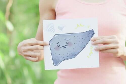 Skrumpelever illustreres af en tegning af en trist lever