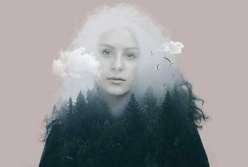 Kvindes omrids med skov som krop