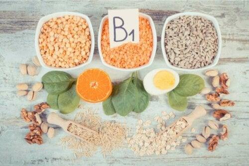 Fødevarer med B1, som er en del af B-vitamin kompleks