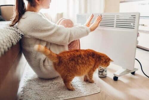 Kvinde anvender en af de gængse typer af varmesystemer