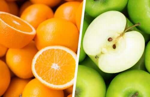 Appelsiner og grønne æbler