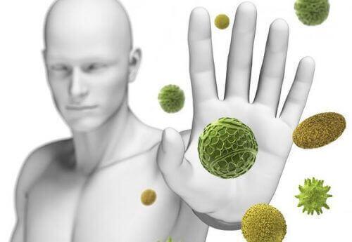 Person afviser bakterier