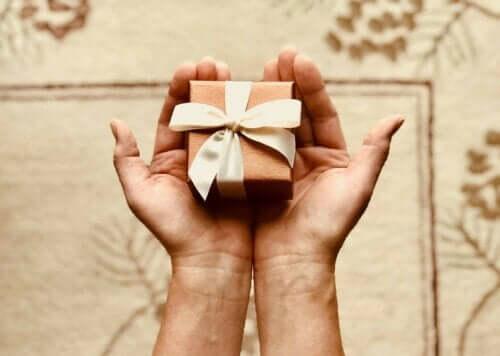 Person holder gave i hænderne som eksempel på gaveidéer til den rejseglade