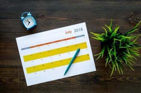 En kalender er god, når man skal organisere hjemmet