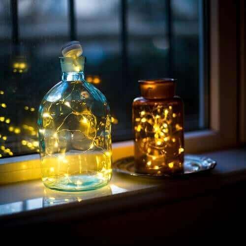 Lanterner af glaskrukker