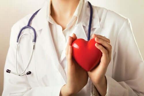 Læge holder hjerte i hænderne