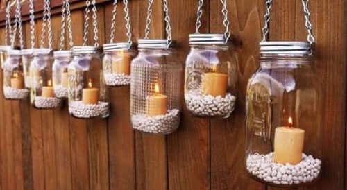 Stearinlys i glaskrukker